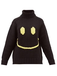 Joostricot Smiley Embroidered Wool Blend Sweater Black Yellow