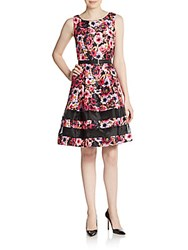 Chetta B Floral Belted A Line Dress Pink Multi