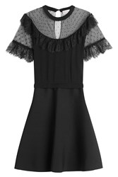 Red Valentino Dress With Point Desprit And Lace Black