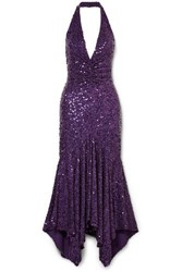 Michael Kors Collection Asymmetric Sequined Stretch Jersey Halterneck Dress Purple