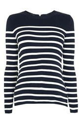 Topshop Maternity Stripe Zip Back Jumper Navy Blue