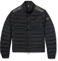 Moncler Geant Slim Fit Leather Trimmed Quilted Stretch Shell Down Jacket Black