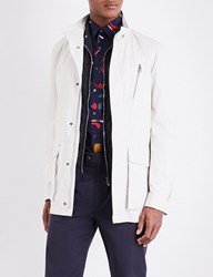 Salvatore Ferragamo Patch Pocket Leather Raincoat Bone