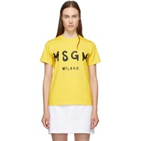 Msgm Ssense Exclusive Yellow Paint Brushed Logo T Shirt