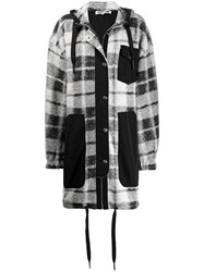 Mcq By Alexander Mcqueen Plaid Hooded Coat Black