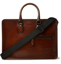 Berluti Un Jour Scritto Leather Briefcase Brown