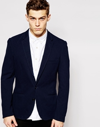Solid Tailored And Originals Pique Blazer In Skinny Fit Navy