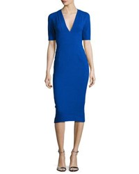 Narciso Rodriguez Crepe Short Sleeve Sheath Dress Cobalt