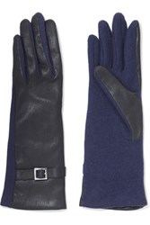 Agnelle Buckled Leather And Wool Blend Gloves Navy