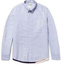 Visvim Lungta Button Down Collar Flag Appliqued Cotton Oxford Shirt Light Blue