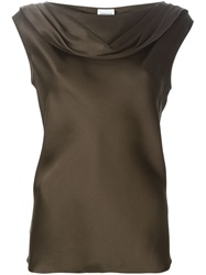 Armani Collezioni Cowl Neck Tank Top Brown