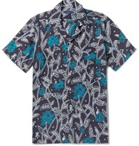 Etro Camp Collar Printed Linen Shirt Blue