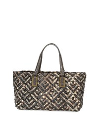 Bottega Veneta Lido Snakeskin And Lizard Tote Bag With Pouch Red Gray