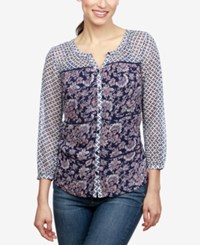 Lucky Brand Mixed Print Blouse Navy Multi