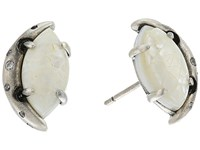 Kendra Scott Marie Stud Earrings Antique Silver Crackle Ivory Mother Of Pearl White Cz Earring