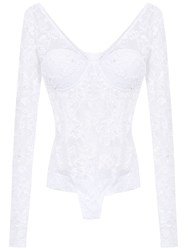 Amir Slama Lace Long Sleeved Swimsuit White