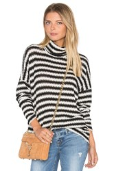 Michael Lauren Marshall Striped Turtleneck Black And White