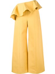 Rosie Assoulin Ruffle Wide Leg Trousers Yellow Orange