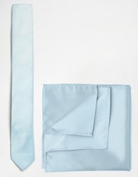 Asos Wedding Tie And Pocket Square In Blue Blue