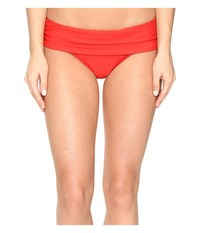 Athena Cabana Solids Lani Banded Bikini Bottom Persimmon Women's Swimwear Orange