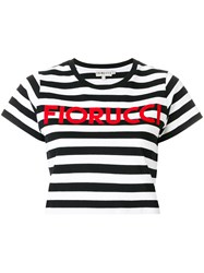 Fiorucci Striped Cropped T Shirt Cotton Black