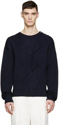 3.1 Phillip Lim Navy Ribbed Military Sweater