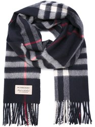 Burberry Checked Cashmere Scarf Cotton Cashmere Blue