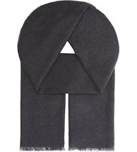 Johnstons Plain Merino Wool Scarf Charcoal