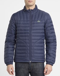 Lacoste Navy Crocodile Chest Logo Zipped Removable Hooded Collar Down Jacket Blue