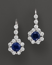 Bloomingdale's Sapphire And Diamond Drop Earrings In 14K White Gold White Blue