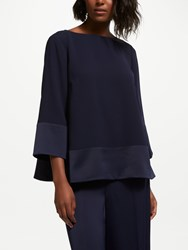Bruce By Bruce Oldfield Satin Back Crepe Top Dark Sapphire