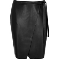 River Island Womens Plus Black Leather Look Wrap Skirt