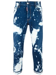 Dsquared2 Glam Head Bleached Splatter Jeans Blue