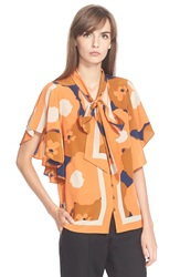 Tracy Reese Flounced Tie Neck Print Silk Blouse Rust Floral