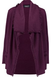 Magaschoni Fringed Cashmere Cardigan Purple