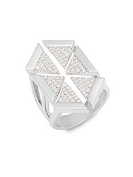 Noir Multi Triangle Cubic Zirconia Ring Silver