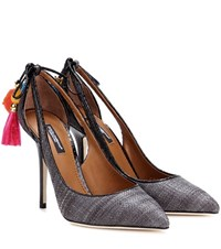 Dolce And Gabbana Raffia Snakeskin Sling Back Pumps Grey