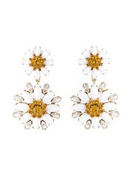 Dolce And Gabbana Daisy Drop Clip On Earrings White