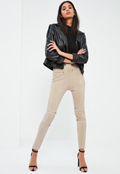 Missguided Nude Faux Suede Biker Knee Zip Detail Leggings Cream
