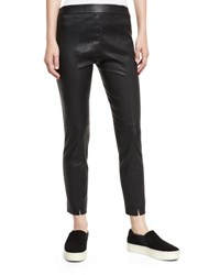 Vince Stitch Front Leather Leggings Black