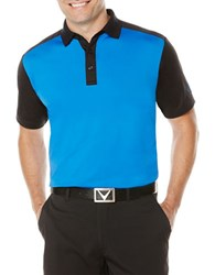 Callaway Golf Performance Color Block Short Sleeved Polo Shirt Magnetic Blue