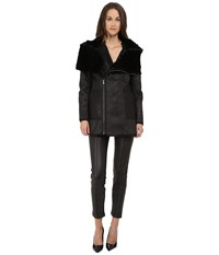 The Kooples Bonded Fancy Leather Shearling Fur Jacket Black Women's Coat