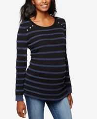 A Pea In The Pod Maternity Striped Sweater Black Navy