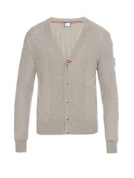 Moncler Gamme Bleu Button Through Cotton Knit Cardigan Grey Multi