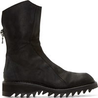 Julius Black Coated Leather High Zip Boots