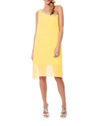 Laundry By Shelli Segal Chiffon Overlay Dress Canary Yellow