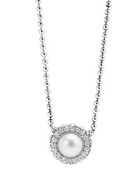Lagos Sterling Silver Luna Cultured Freshwater Pearl Fluted Pendant Necklace With Diamonds 16 White Silver