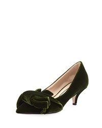 N 21 Velvet Pumps With Knotted Bows Green