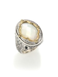 Konstantino Selene Mother Of Pearl 18K Yellow Gold And Sterling Silver Clover Ring Silver Gold