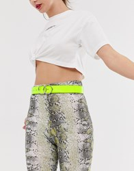 Missguided Belt With Double Ring Detail In Neon Lime Yellow
